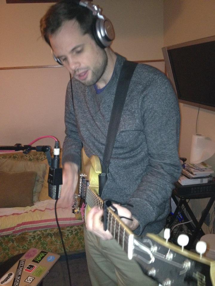 Me, apparently high on 'lean, recording guitar for the Son of Stan record